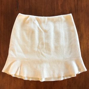 Madewell White/Cream Wool Blended Mini Skirt Sz 0